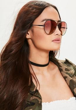 Black Tapered Red Lens Aviator Sunglasses