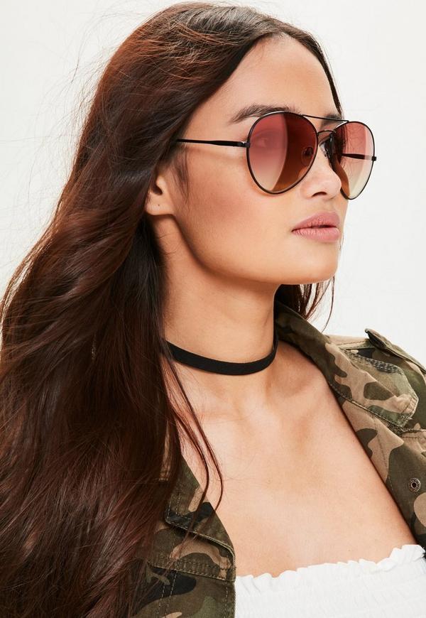 Black Tapered Red Lens Aviator Sunglasses