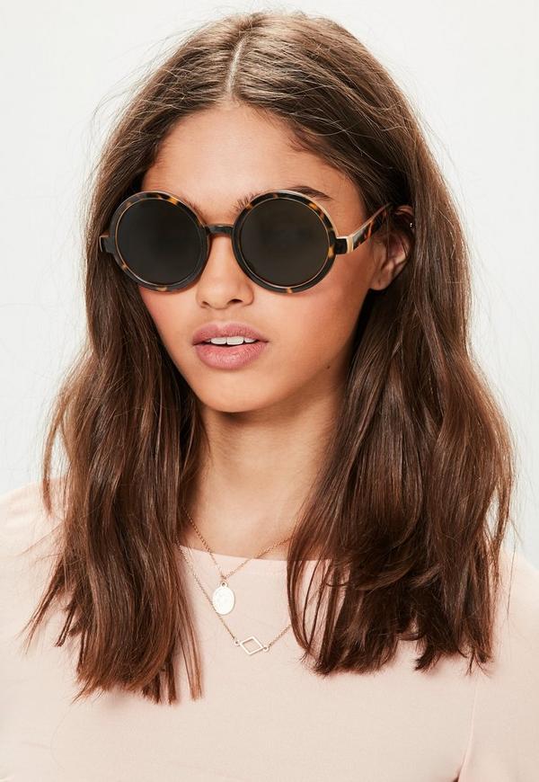 Brown Rounded Tortoiseshell Green Lens Sunglasses