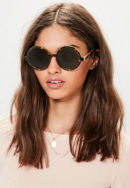 Brązowe okrągłe okulary przeciwsłoneczne w panterkę z zielonymi szkłami