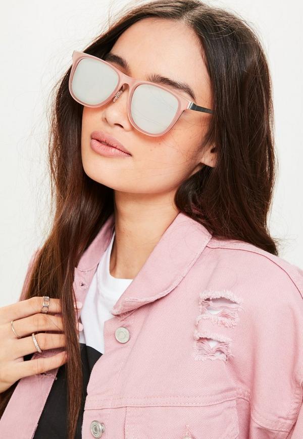 Pink Metal Flat Bar Mirrored Sunglasses