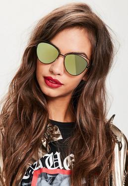Black Cat Eye Mirrored Lenses Sunglasses