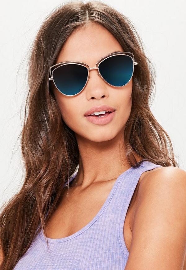 Gold Cat Eye Reflective Lenses Sunglasses