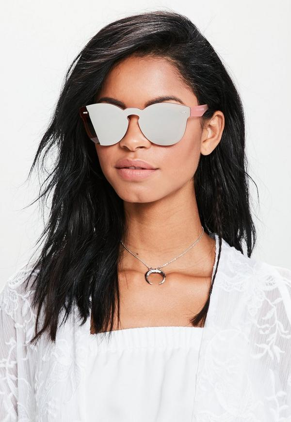 Rose Gold Flat Lens Mirrored Sunglasses
