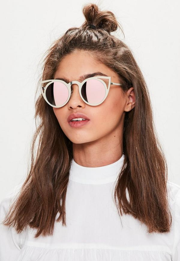 silver cut out metal frame cat eye sunglasses missguided. Black Bedroom Furniture Sets. Home Design Ideas
