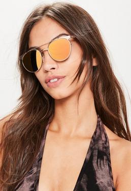 Flache T-Bar Sonnenbrille in Rosé-Gold
