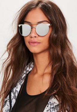 Flache Sonnenbrille mit T-Steg in Silber