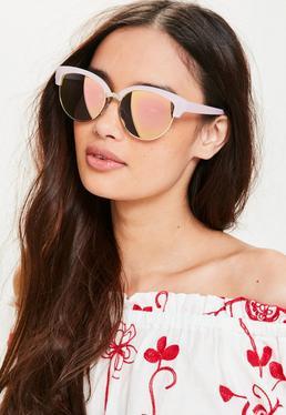 Cat Eye Sonnenbrille mit Rosa Gestell