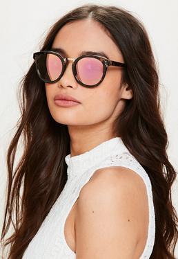 Runde Sonnenbrille mit rosa Gläsern in Schildpatt Design