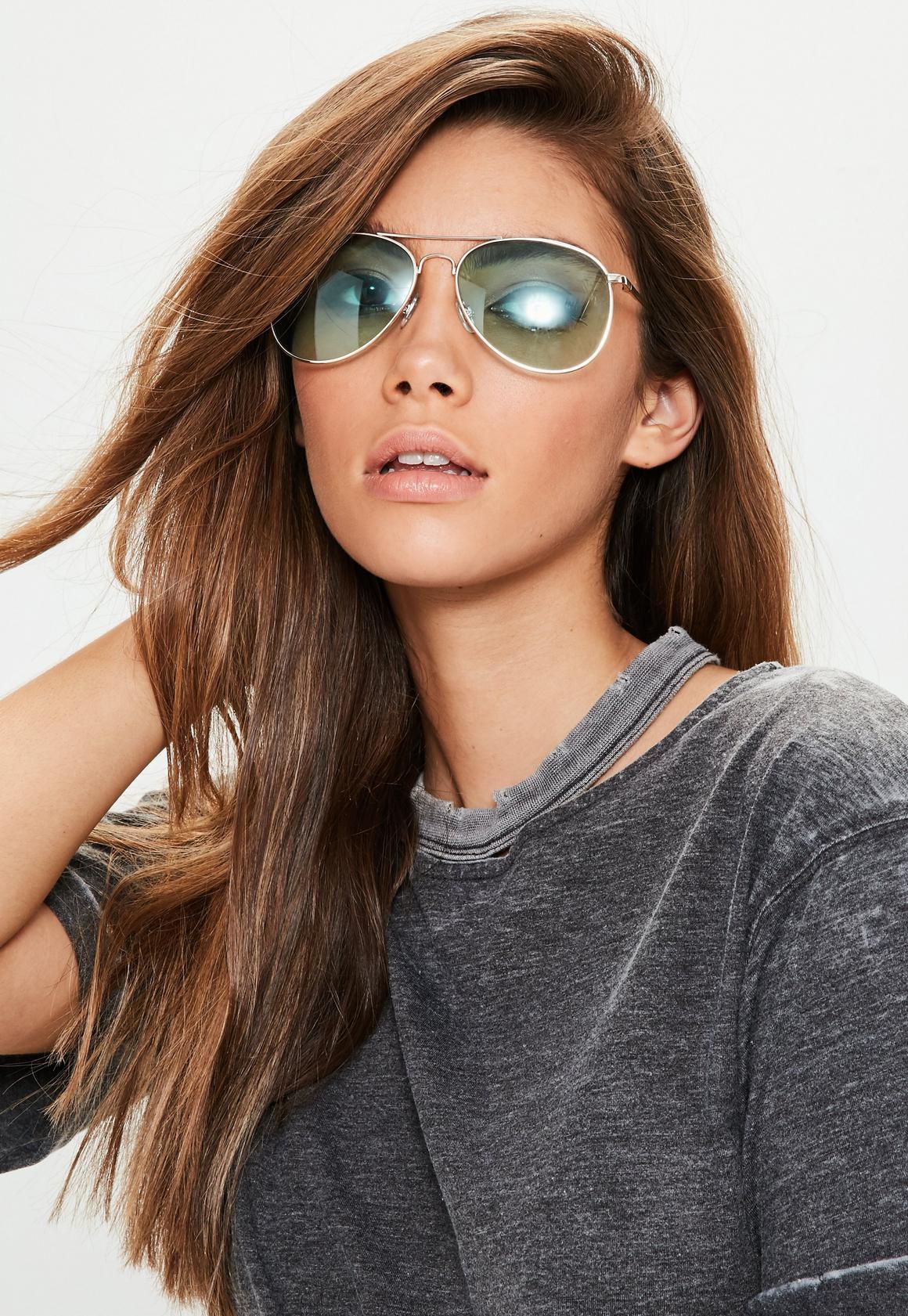 aviator green sunglasses  Green Aviator Sunglasses - Missguided