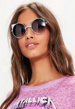 Black Cat Eye Metal Frame Rounded Sunglasses