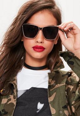 Złote proste okulary przeciwsłoneczne w kształcie kociego oka