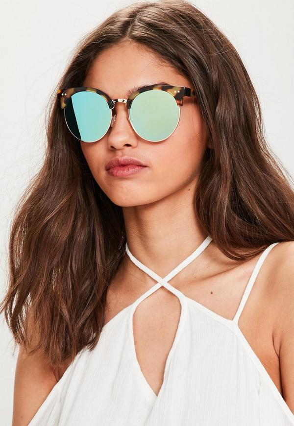 Brown Tortoiseshell Mirrored Lens Sunglasses