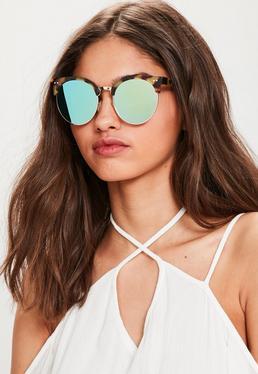 Odblaskowe okulary przeciwsłoneczne w brązowych oprawkach w panterkę