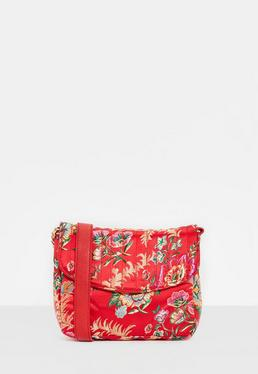 Satin Stepp-Tasche mit Blumenmuster in Rot