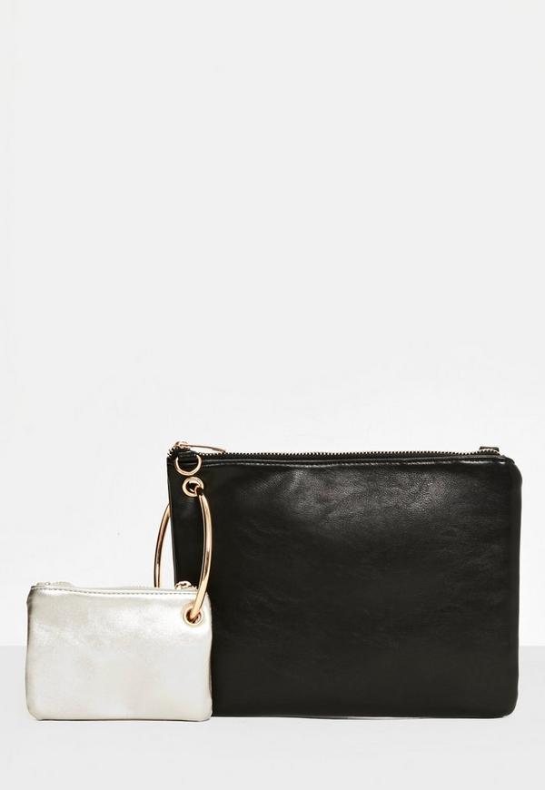 Black Circle Trim Mini Bag and Clutch Bag