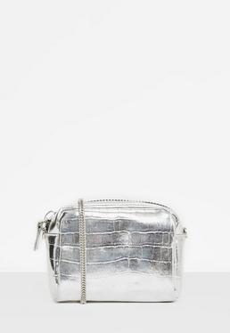 Silver Metallic Mini Cross Body Bag