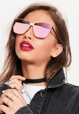 Rose Gold Cat Eye Frame Mirrored Sunglasses