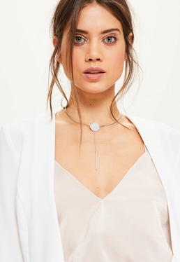 Silver Drop Pendant Choker Necklace