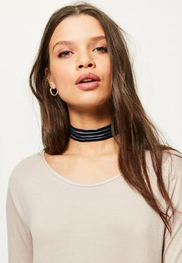 Navy Velvet Multi Layer Choker Necklace