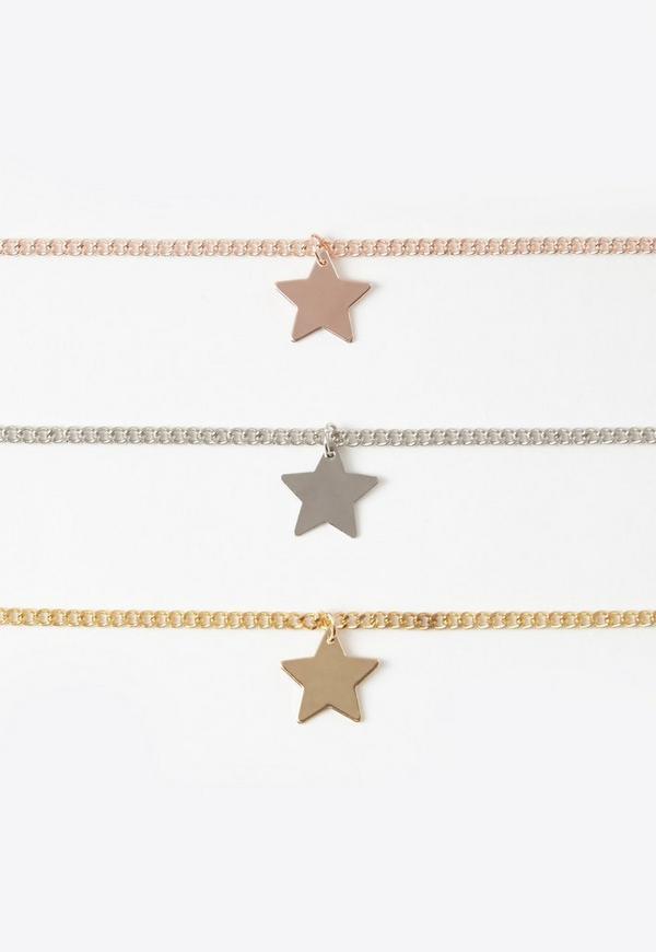 Three Pack Star Choker Necklace