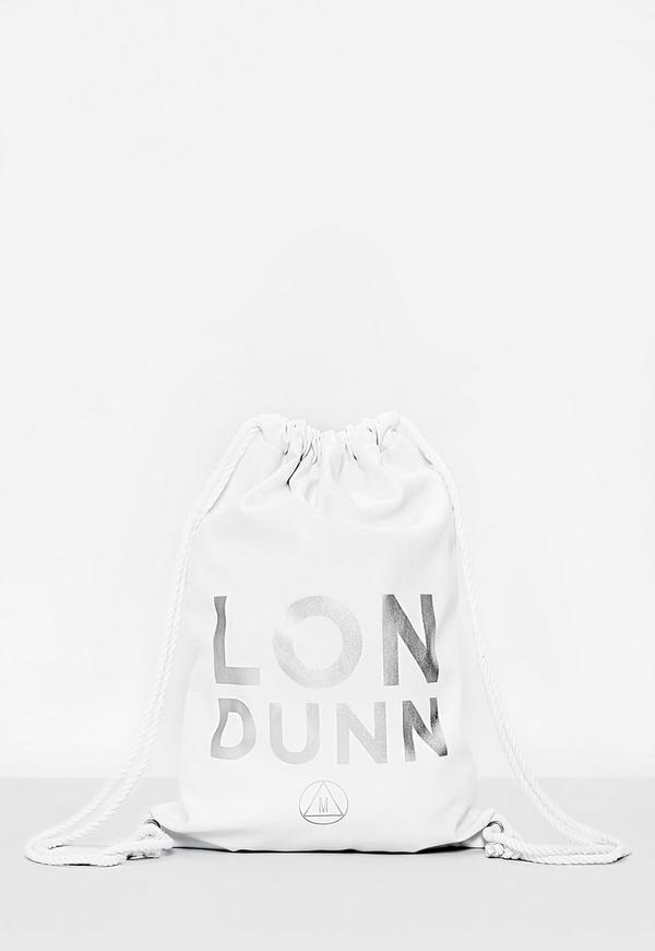 Londunn + Missguided White Faux Leather Drawstring Bag