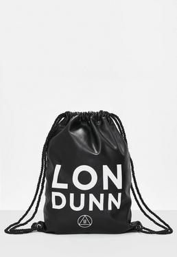 LONDUNN + Missguided - Bolsa con cordones de ajuste de cuero sintético en negro
