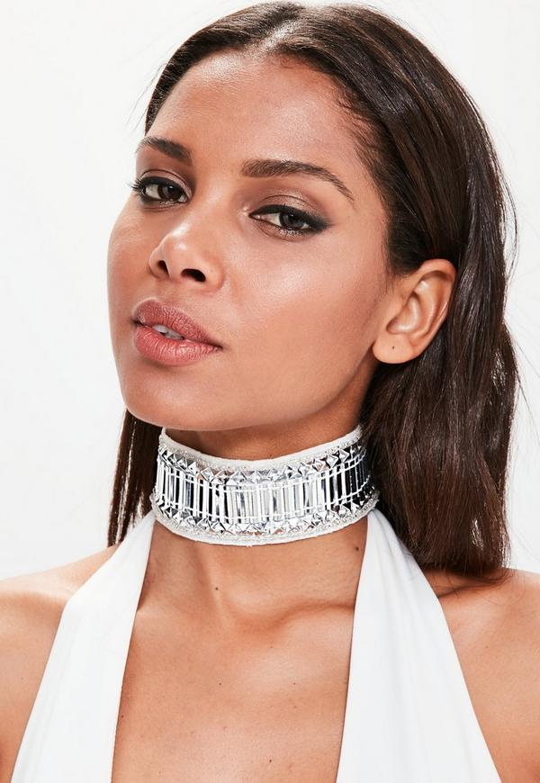 Peace + Love Silver Embellished Choker