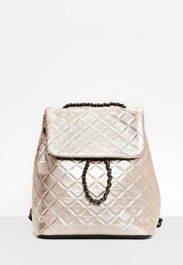 Rose Gold Quilted Chain Backpack