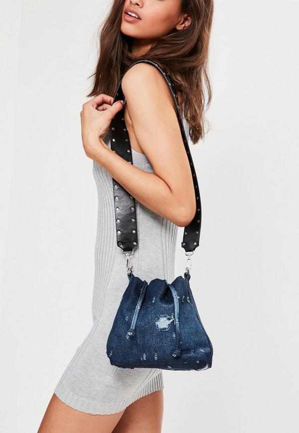 Blue Denim Drawstring Bucket Bag