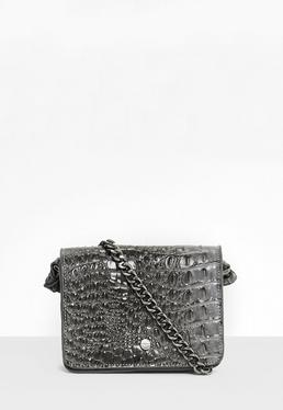 Grey Croc Embossed Cross Body Bag