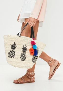 Beige Pineapple Pom Pom Trim Beach Bag