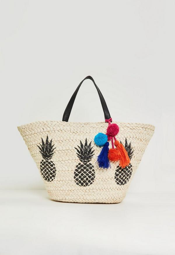 Beige Pineapple Pom Pom Trim Beach Bag | Missguided