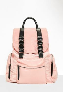 Nylon-Rucksack mit Kontrast-Riemen in Rosa