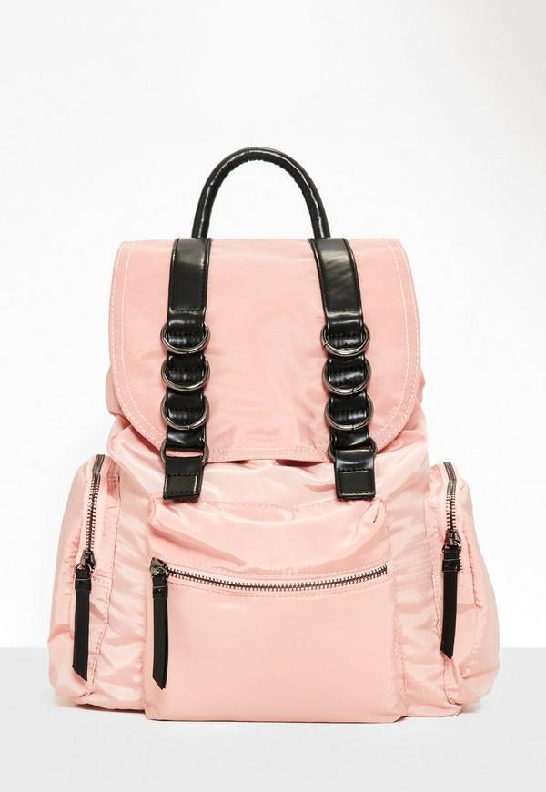a47f713e93 Pink Three Pocket Nylon Backpack