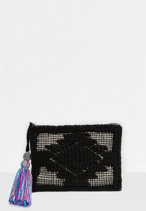 Black Oversized Tassel Embroidered Clutch Bag