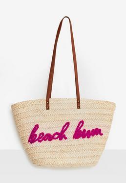 Strand-Tasche mit Beach-Bum Slogan in Creme