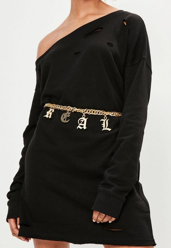 Gold Real Chain Waist Belt