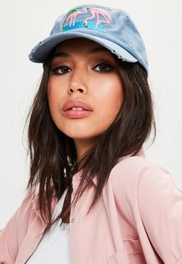 Blue Flamingo Embroidered Cap