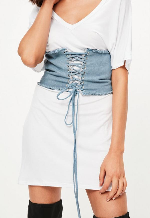 Blue Frayed Denim Corset Detail Belt