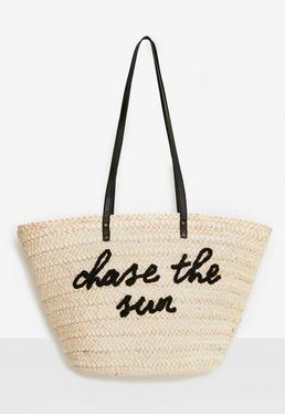 Strand-Tasche mit Chase-the-Sun Slogan in Creme