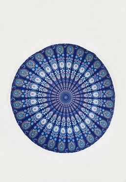 Serviette de plage ronde bleue à imprimé oriental