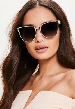 Flache Cat-Eye Sonnenbrille in Gold
