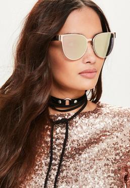 Metalowe okulary przeciwsłoneczne cateye w kolorze różowego złota