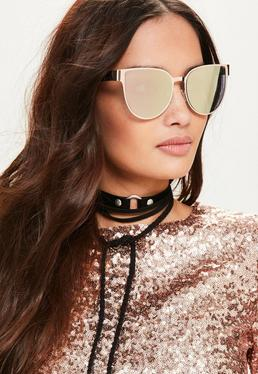Rose Gold Flat Metal Cat Eye Sunglasses