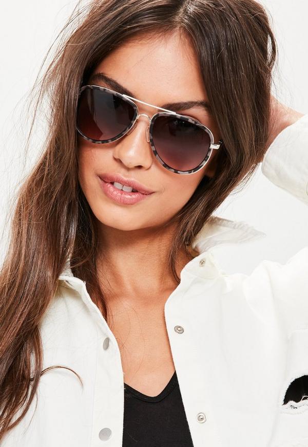 Brown Tortoiseshell Pilot Frame Sunglasses
