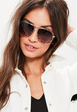 Gafas de sol de aviador con montura carey en marrón