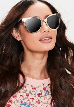 Okulary przeciwsłoneczne kocie oko w oprawkach w kolorze złotym