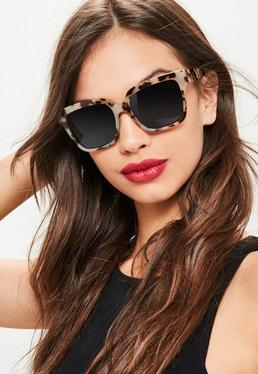 Brown Flat Top Oversized Tortoiseshell Square Sunglasses