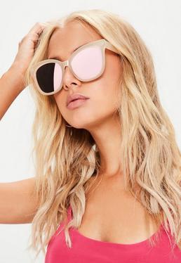 Gafas de sol oversize con montura rectangular mate en nude